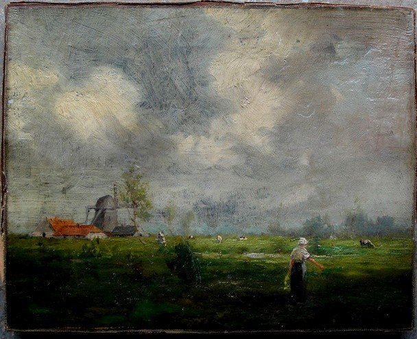 11: O/C Dutch farm scene with cows, barn and woman - un