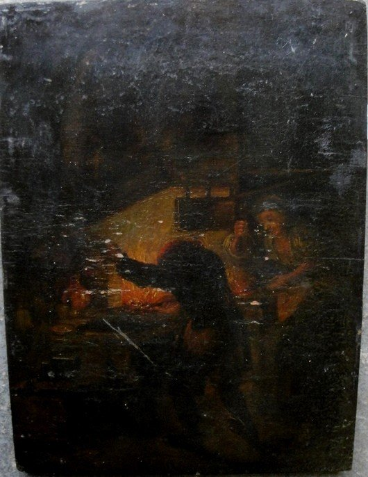 12: Early oil on panel of a blacksmith & wife