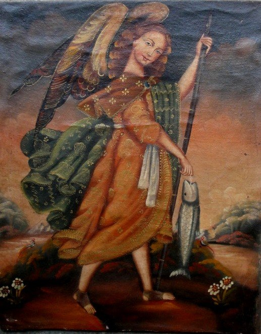 13: O/C Allegorical painting of Guardian Angel holding