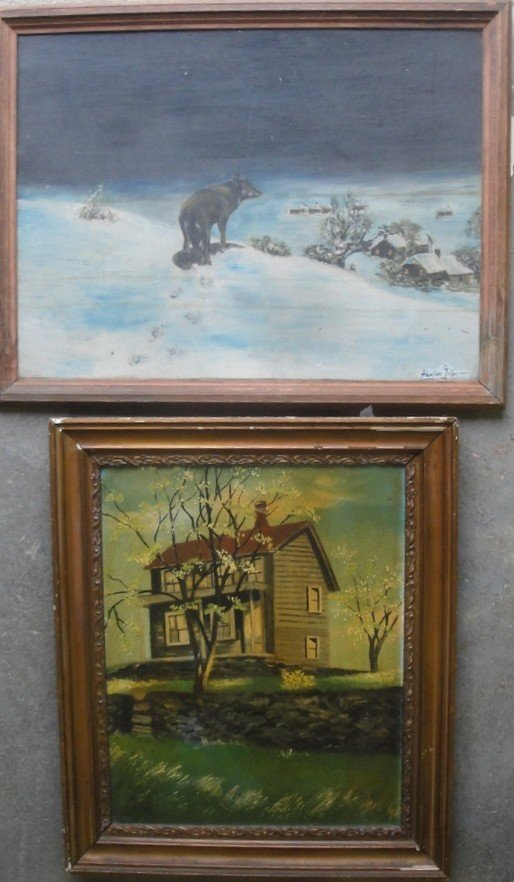 "18: Two artwork: O/B Portrait of farmhouse 15"" x 20"" an"