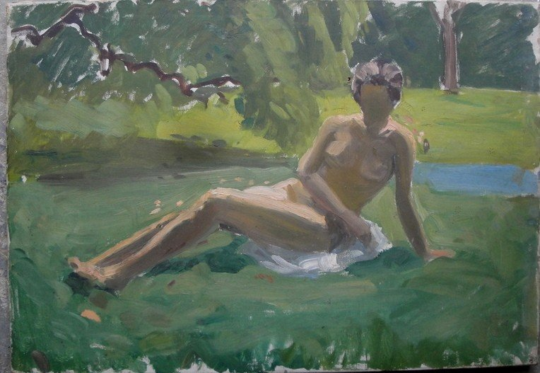 19: O/C Nondescript sitting nude - unframed - two small
