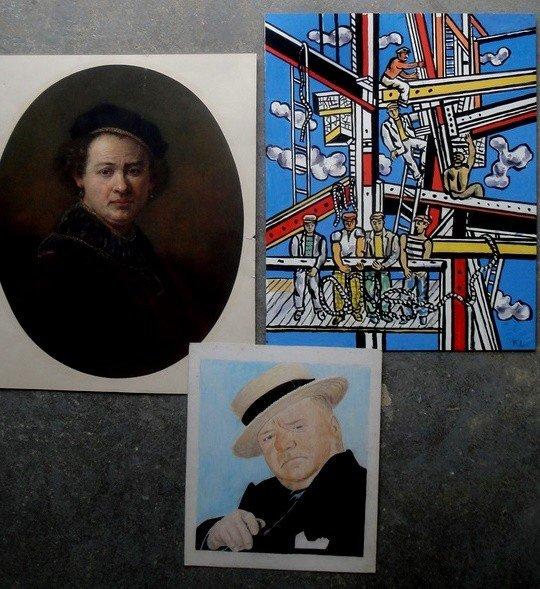 23: Three pieces of artwork: Portrait W.C. Fields, etc.