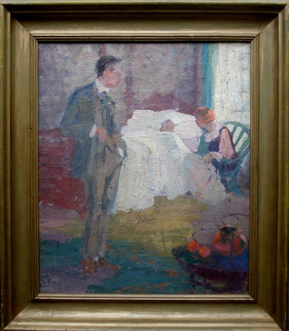 89: O/C Impressionist scene of lady and man at bedside