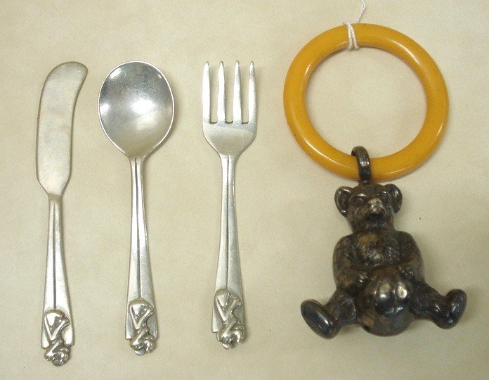 553: Sterling silver full-body Teddy Bear with Bakolite