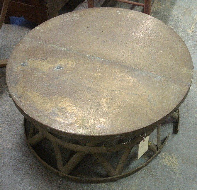 630: Round copper hand-hammered copper coffee table wit