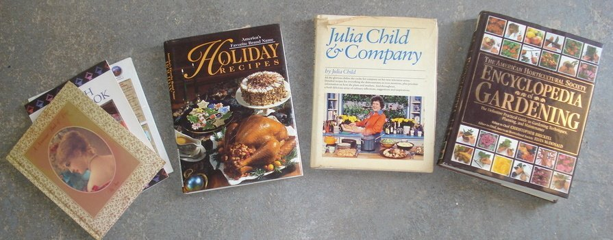 1: Two boxes of misc. books including cook books, antiq
