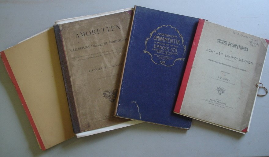 8: Lot of 4 German architectural books with many large