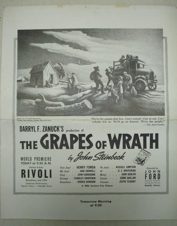 123: Vintage Grapes of Wrath movie poster at the Rivoli
