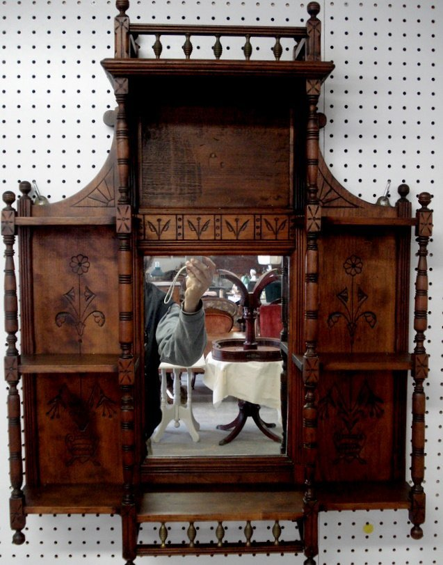 203: Victorian Eastlake wall shelf with mirror back and