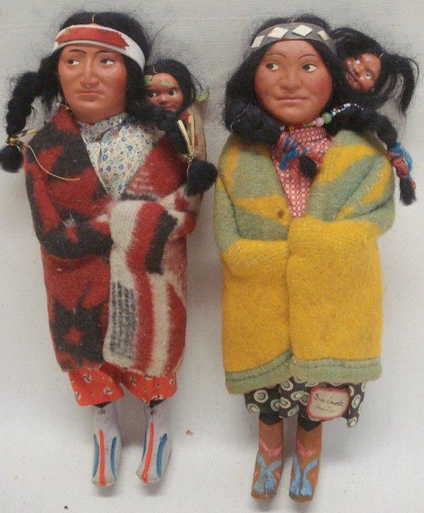 219: Two Skookum Indian dolls - original costumes - eac