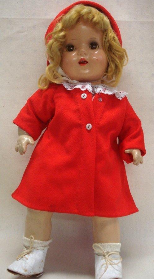 223: Unmarked composition doll - sleepy brown eyes - op