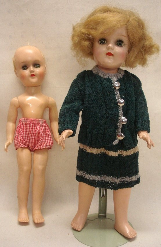 224: Two Ideal Toni dolls: One with hand knitted skirt