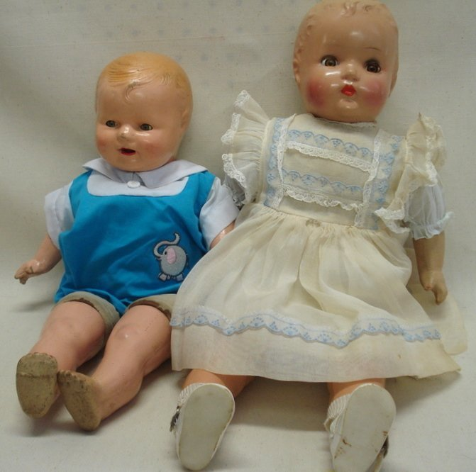 227: Two old dolls including unmarked composition/cloth