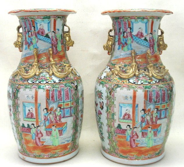289: Pair of rose medallion Chinese export vases decora