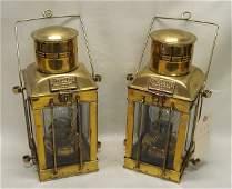 399: Pair of brass Cargo Lights with original oil lamp
