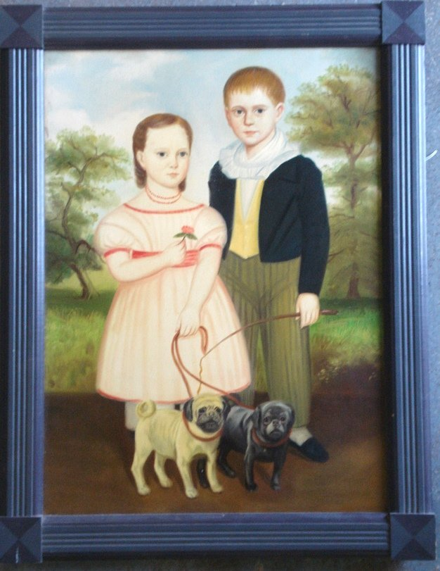 455: O/C Newer primitive portrait of boy, girl and 2 do