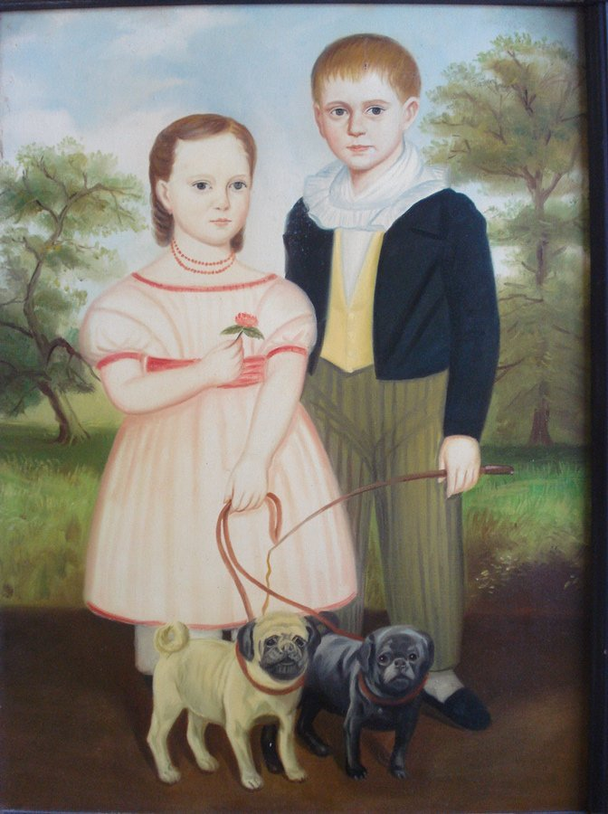 455: O/C Newer primitive portrait of boy, girl and 2 do - 2