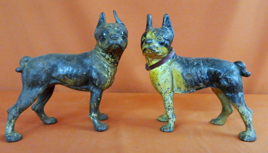 3: Two Vintage Cast Iron Boston Terrier Doorstops in or