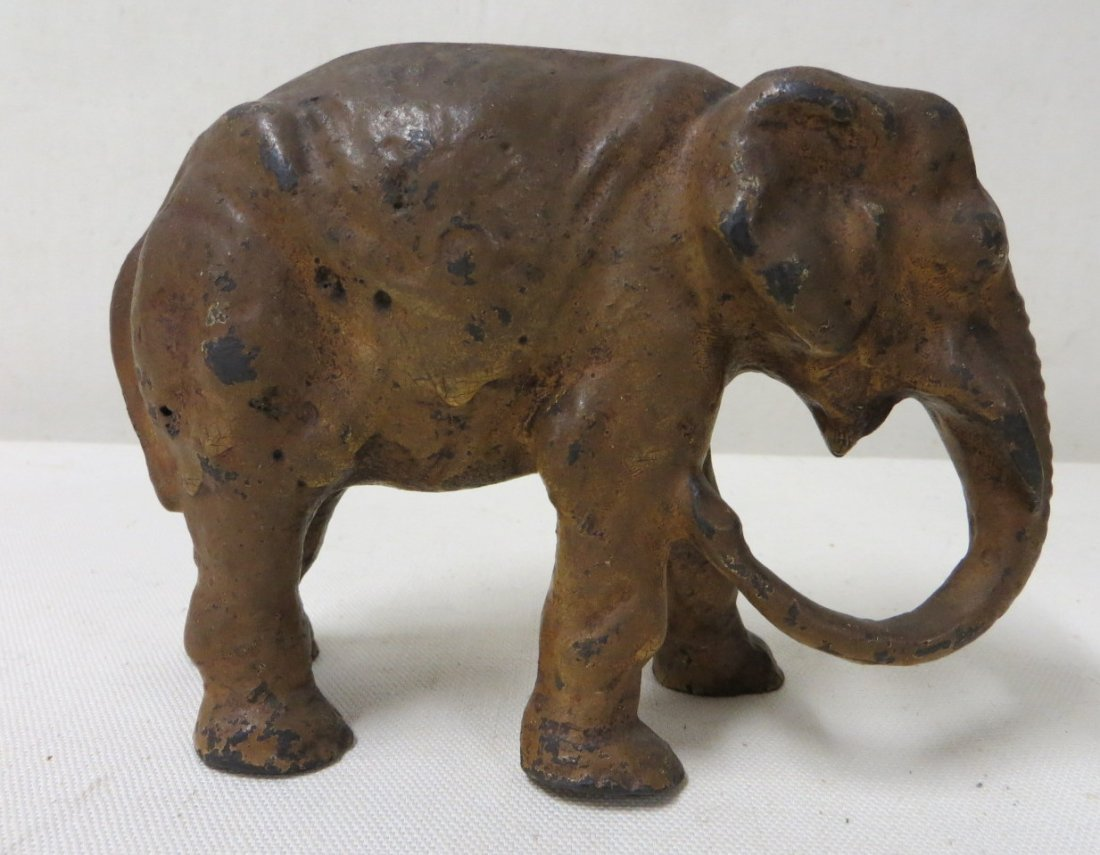 7: Three cast iron elephant door stops in old paint. Si - 3