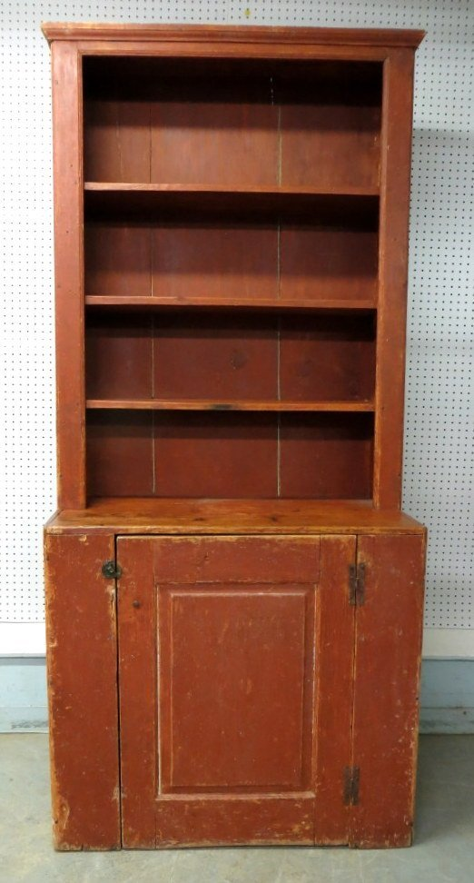 154: Early step back pewter cupboard in old red paint -