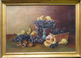 "O/C Still Life Fruit On Table - 26"" X 18"" - Origin"