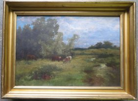 O/C Impressionist Cows In Pasture Signed John Boll