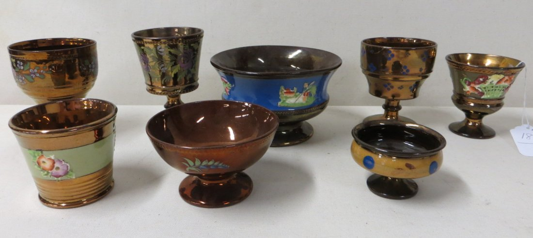 183: Collection of 8 lusterware mugs and cups, most wit