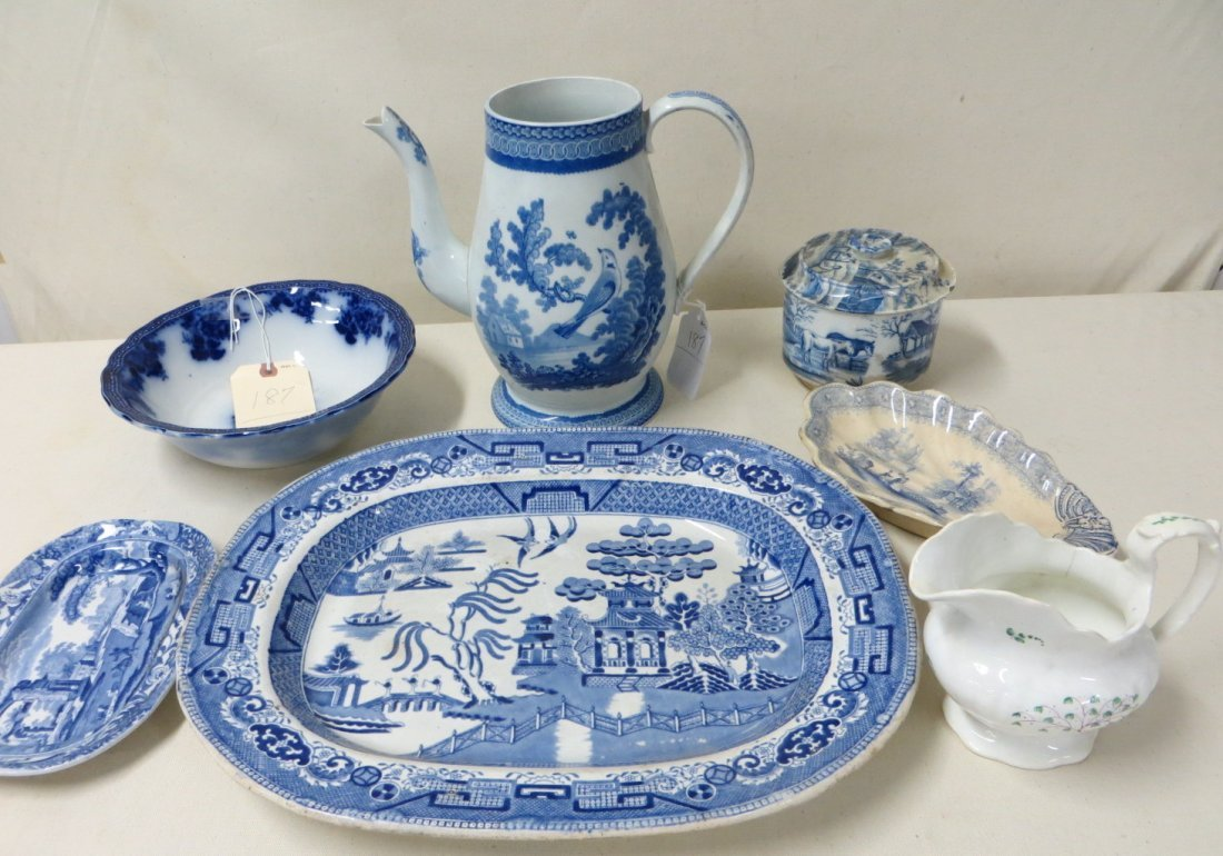 187: Seven pieces of blue/white transferware and flow b