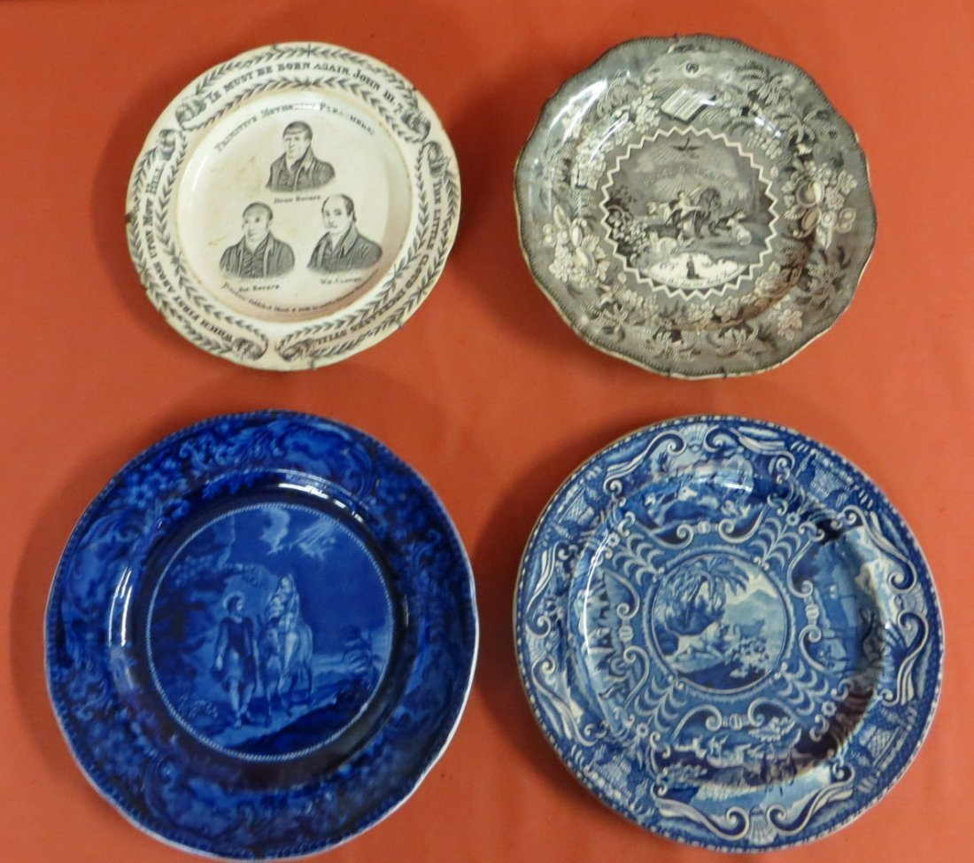 188: Four early plates including flow blue plate of Mar