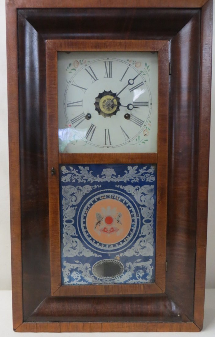 196: Mahogany Ogee mantle clock signed Forestville Cloc