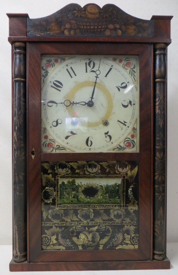 197: Stenciled shelf clock with bowl of fruit design on
