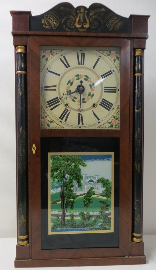 198: Stenciled shelf clock, with half columns, signed G