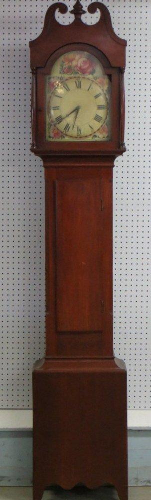 199: Hepplewhite cherry grandfather's clock with hand p