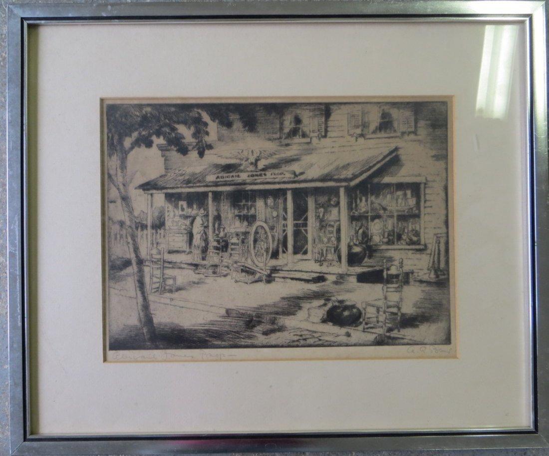 390: Etching of country store signed A.A. Blum entitled