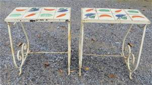 5 Two small tile top plant stands on metal bases  til