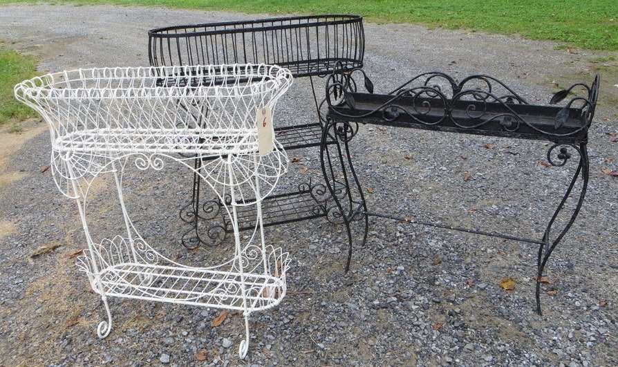 6: Three iron and wire planters - circa 1900 - Each 31""