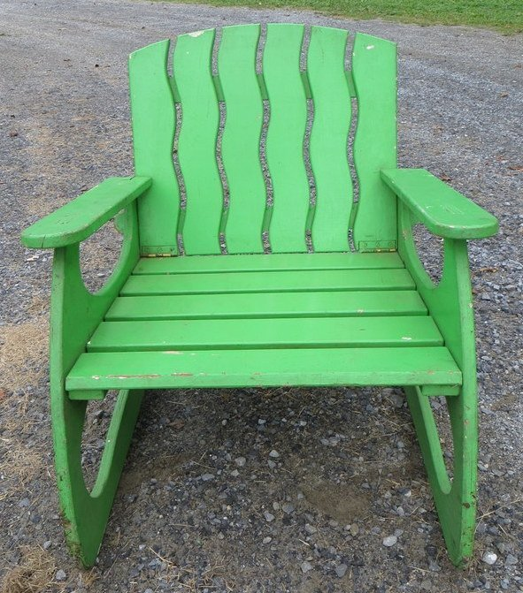 11: Unusual collapsible wooden Adirondack lawn chair -