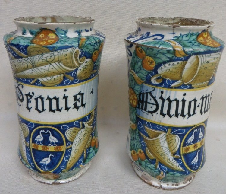 62: Two Italian apothecary jars dated 1580.