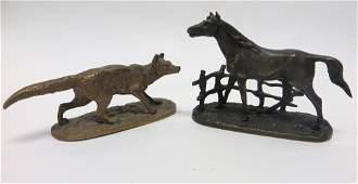 353 Two miniature French bronzes signed PJ Mene Pie