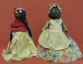 Two Early Black Folk Art Bottle Dolls In Original Co