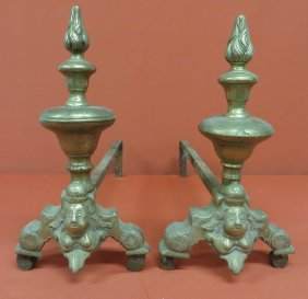 7: Pair of French brass andirons with figural bust of l