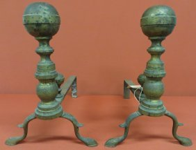 8: Pair of Chippendale brass ball-top andirons with mat