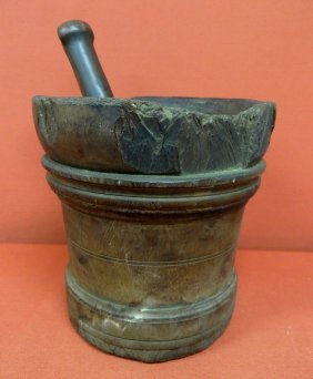 "13: Early ironwood mortar and pestle - 8""H x 8""D - some"