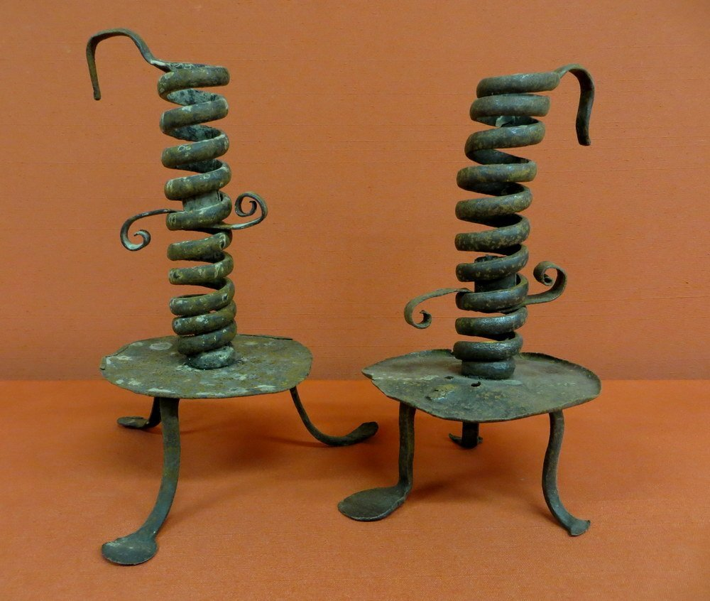 16: Pair of spiral courting candlesticks  with penny fe