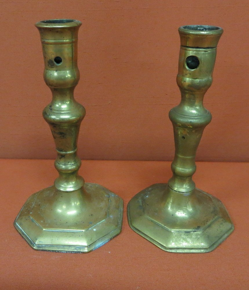 20: Pair of 18th c. Chippendale brass candlesticks.