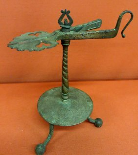 21: Rare early footed wrought iron wick or rush cutter