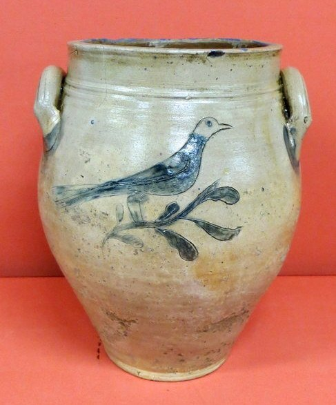 54: Outstanding 3 gal. ovoid crock with incised cobalt