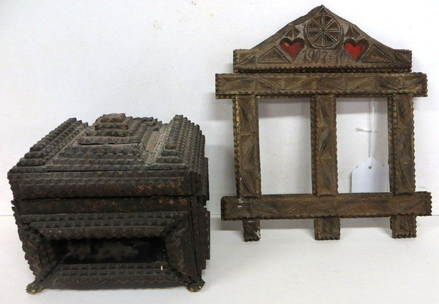 """223: Two tramp art pieces including box 5.5"""" x 6.5"""" and"""