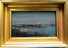 245: George M. Hathaway signed O/B seascape with sailbo