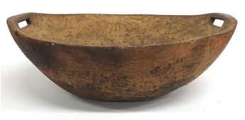 306: Wonderful early burl ash bowl with cutout handles